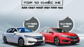 Honda Civic, Honda Accord lọt top 10 chiếc xe bán chạy nhất mọi thời đại